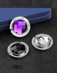 מתלה לתיק, קטן ואיכותי, מתכת עם אבן גדולה צבעים: שחור, סגול, לבן