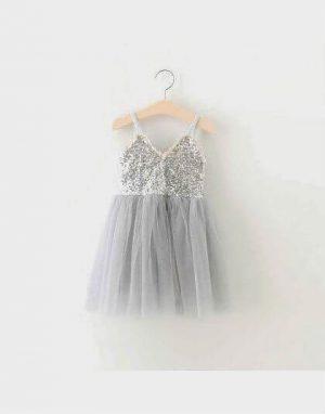 שמלת פייטים - אפור כסף