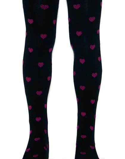 גרביונים שחורים עם לבבות