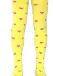 גרביונים צהובים עם לבבות